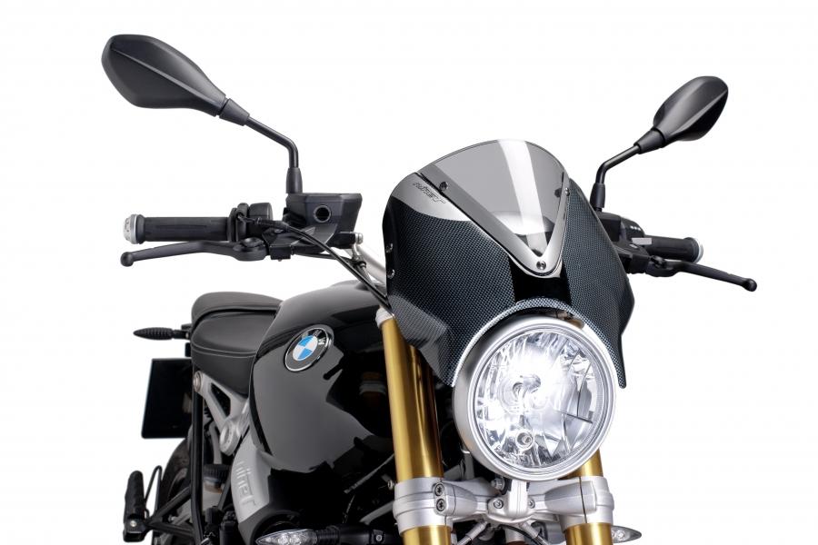 Cúpula Naked BMW R NINE T (2014-2017 ) Puig Color Ahumado Claro. Carcasa Carbono - Ref. 7559H
